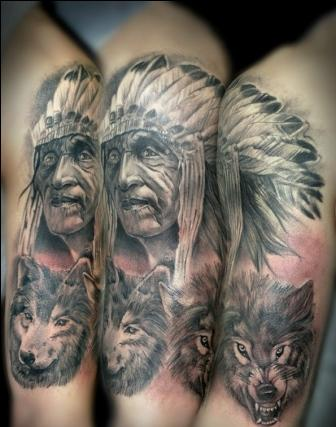 Native American People And Wolf Portrait Tattoos
