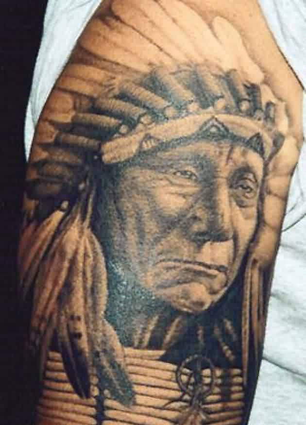 Native American Portrait Tattoo On Arm