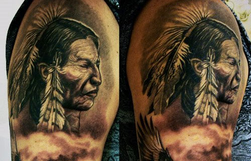 Native American Portrait Tattoo On Biceps