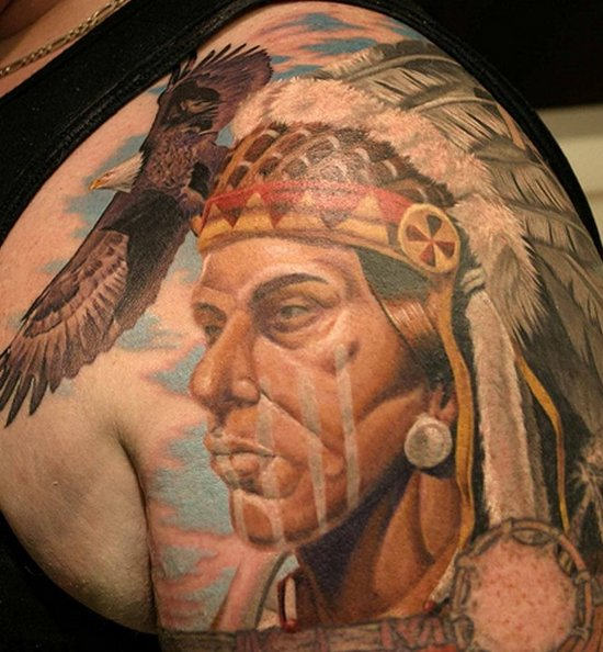 Native American Portrait Tattoo On Shoulder
