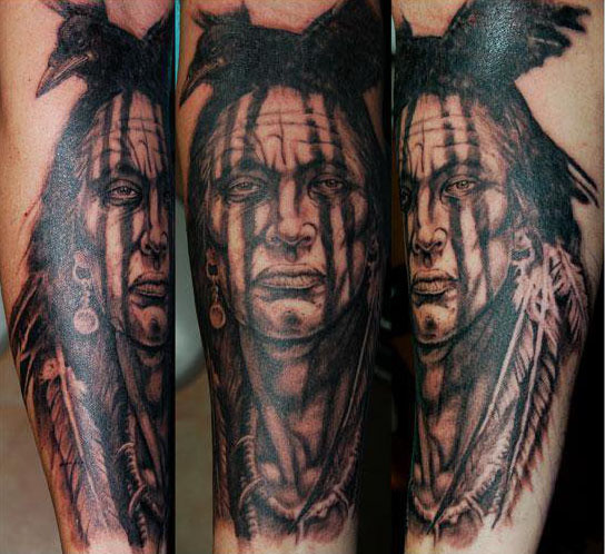 Native American Portrait Tattoos