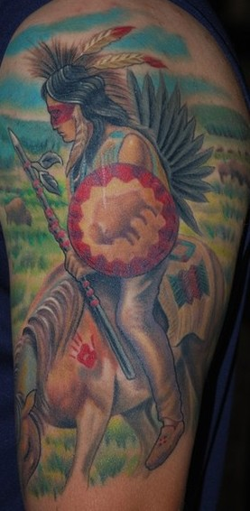 Native American Scene Tattoo On Half Sleeve