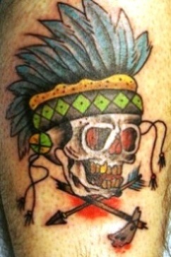 Native American Skull And Broken Arrow Tattoo