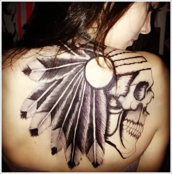 Native American Skull Tattoo On Back