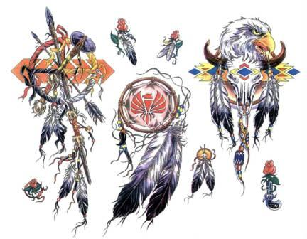 Native American Tattoo Designs On White Background