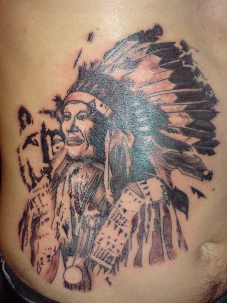 Native American Tattoo On Stomach (2)