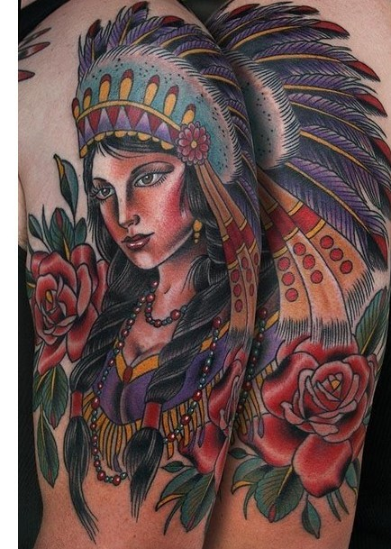 Native American Tattoo Woman 1