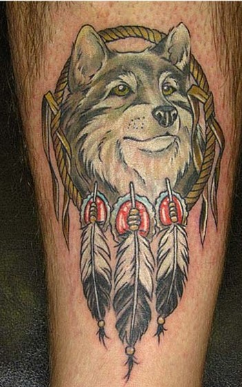 Native American Wolf Tattoo On Leg