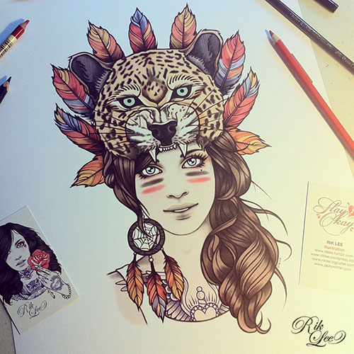 Native Girl In Animal Mouth Tattoo Design