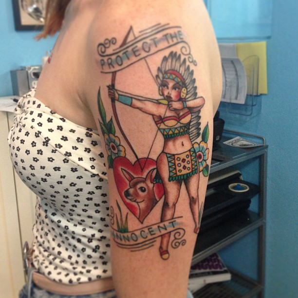 Native Girl With Bow And Arrow Tattoo On Biceps