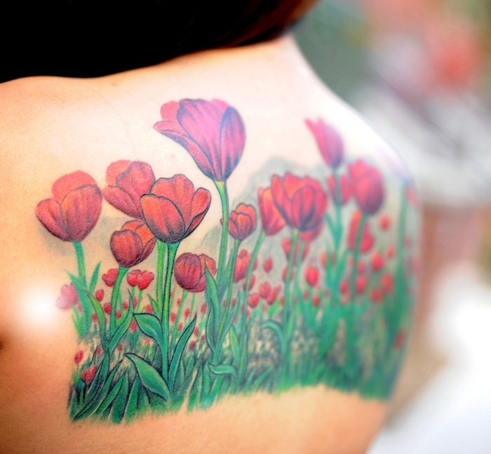 Nature Tulip Flower Tattoo On Upperback