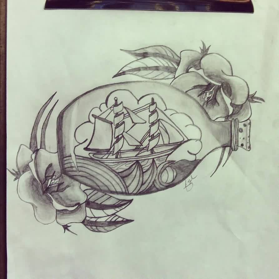 Nautical Ship In A Bottle And Flower Tattoos Sketch