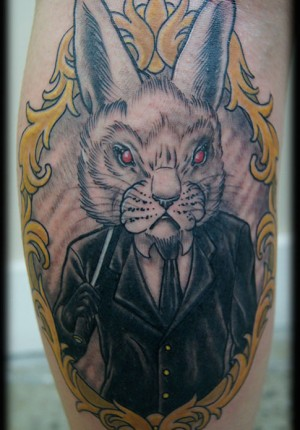 Neo Traditional Bunny Head Gentleman In Ornate Frame Calf Tattoo Design