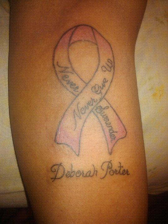 Never Give Up - Ribbon Tattoo