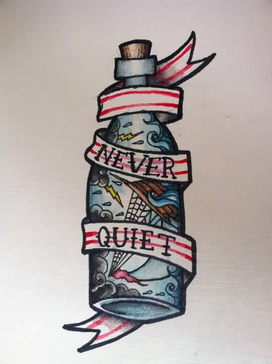 Never Quit Bottle Tattoo Flash