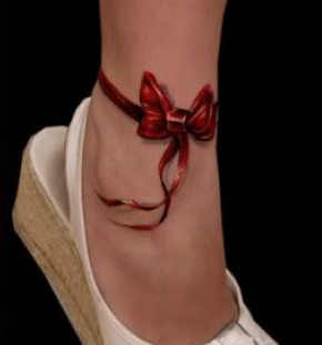 New 3D Red Ribbon Tattoo Around Ankle