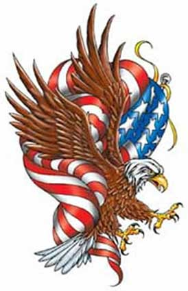 New American Flag And Eagle Tattoo Design