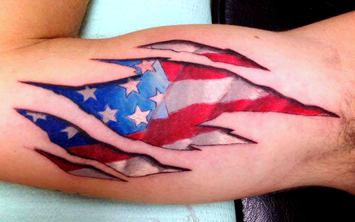 New American Flag Tattoo Style For Men