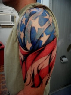 New American Tattoo On Half Sleeve For Men