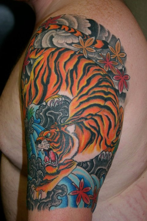 New Asian Tiger Tattoo On Quarter Sleeve