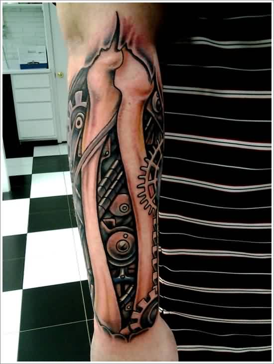 New Biomechanical Bones Tattoo On Arm
