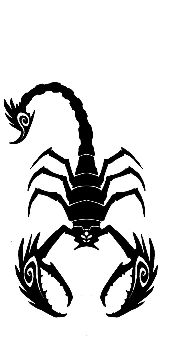 New Black Ink Scorpion Tattoo Design