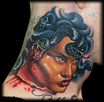 New Bleeding Medusa Portrait Tattoo On Neck