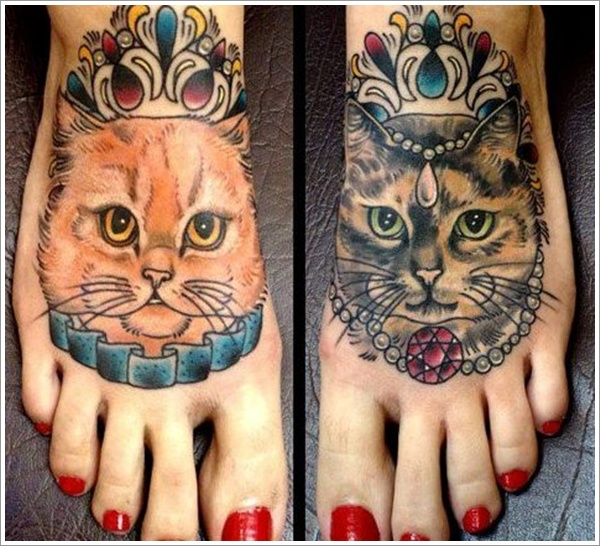 New Cat King And Queen Tattoos On Feet