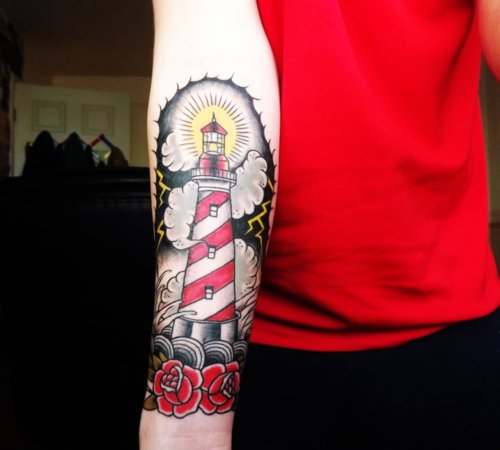 New Clouds Lighthouse And Rose Tattoos On Forearm