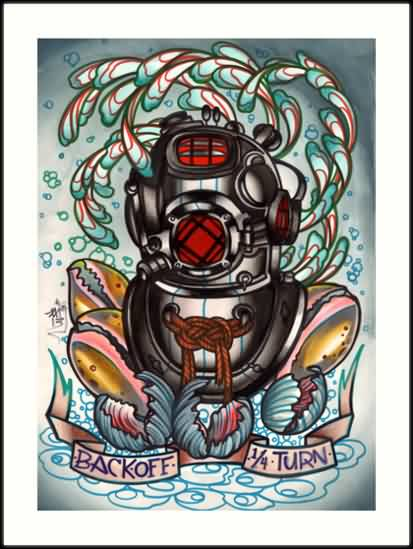 New Diving Helmet Tattoo Design