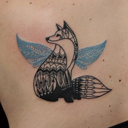 New Geometric Animal With Blue Wings Tattoo