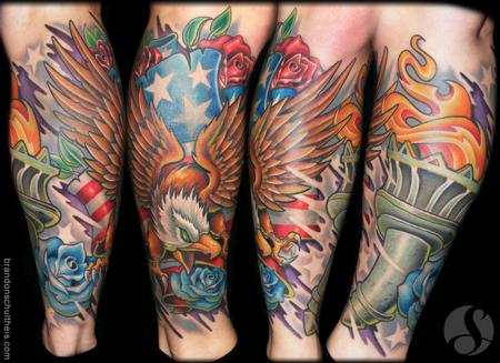 New Impressive American Tattoos On Leg