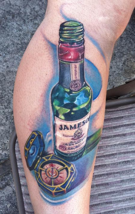 New Jameson Bottle Portrait Tattoo On Leg