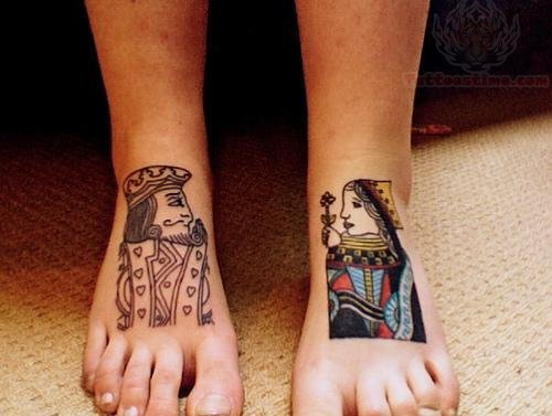 New King And Queen Tattoos On Foot