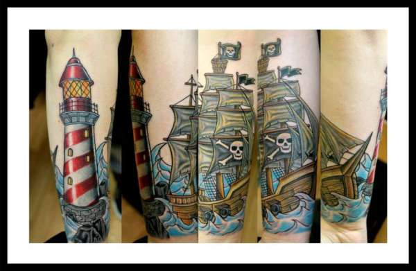 New Lighthouse And Pirate Ship Tattoos