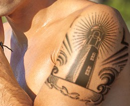 New Lightning Lighthouse Tattoo On Shoulder