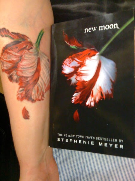 New Moon Tulip Flower Tattoo