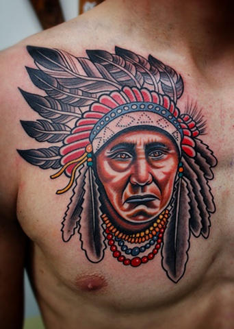 New Native American Portrait Tattoo On Chest