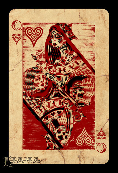 New Queen of Hearts Tattoo Flash
