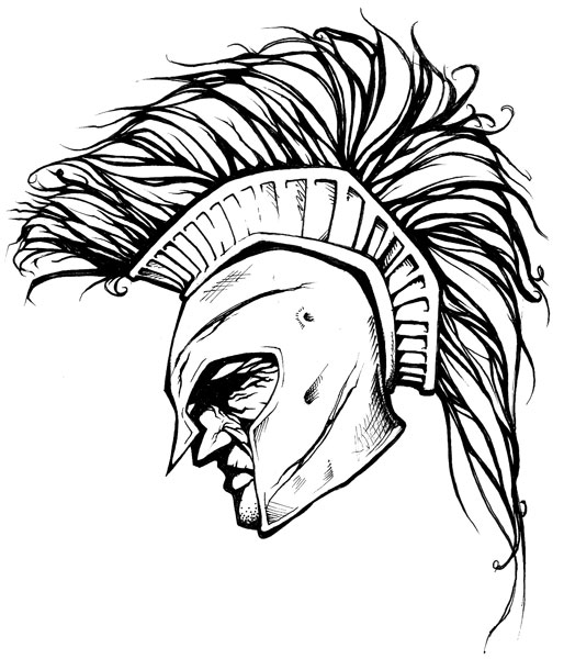 New Release Spartan Helmet Tattoo Design