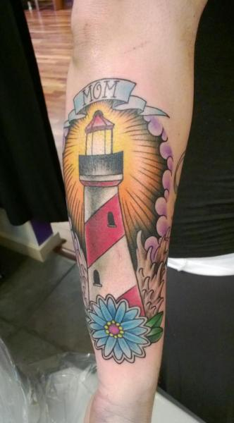 New School Lighthouse And Flower Tattoos