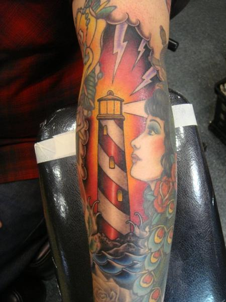 New School Lighthouse And Lady Tattoos On Leg