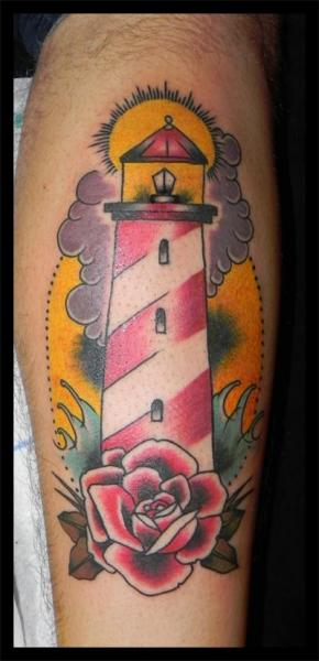 New School Lighthouse And Rose Tattoos On Leg