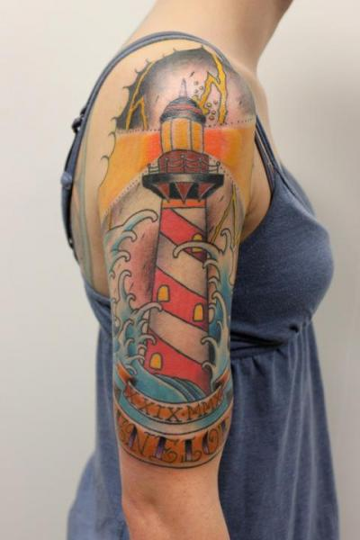 New School Lighthouse Tattoo On Half Sleeve