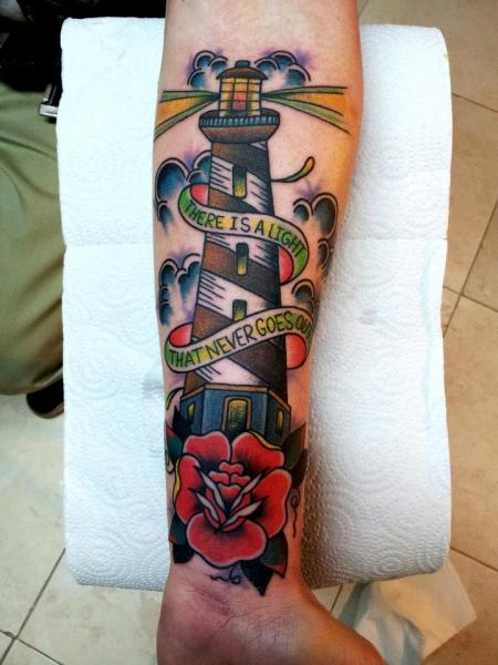 New School Lighthouse Tattoo On Lower Arm