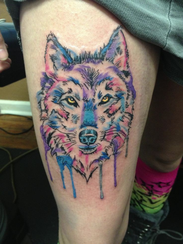 New Watercolor Wolf Tattoo On Thigh