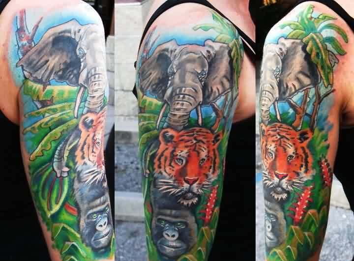 New Wild Animal Tattoos On Half Sleeve