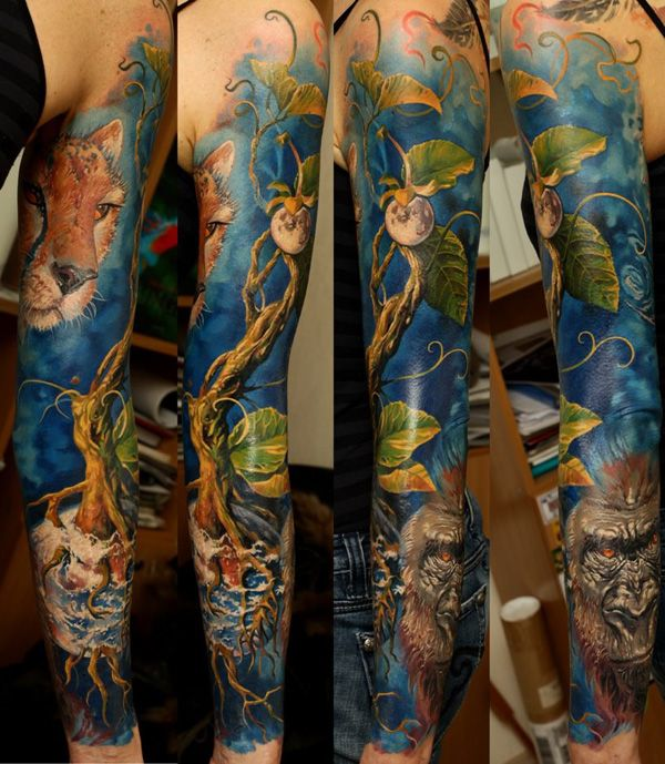New Wild Animal Tattoos On Whole Sleeve