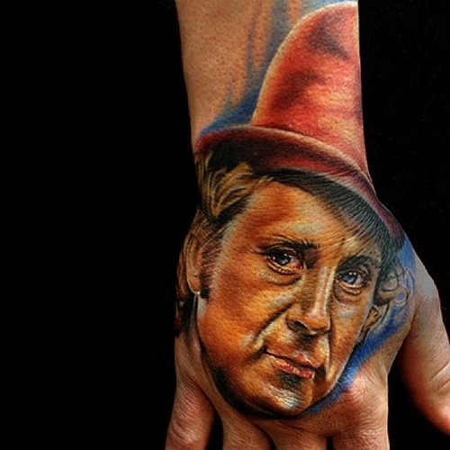 New Willy Wonka Portrait Tattoo On Hand