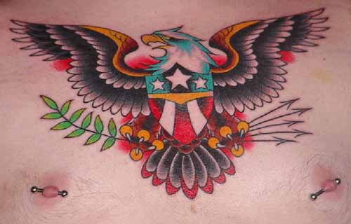 Nice American Eagle Tattoo On Chest